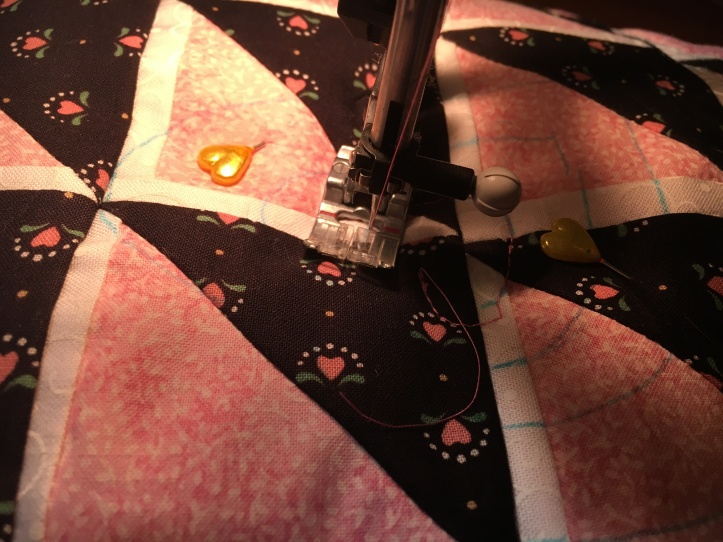 Concentric heart - starting quilting