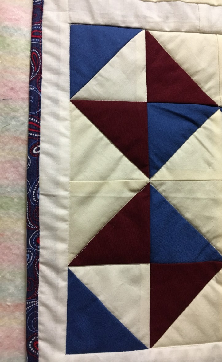 Red White and Blue Stars binding detail