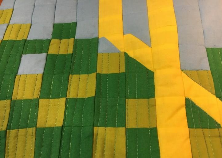 Sandhill Crane quilting - grass detail