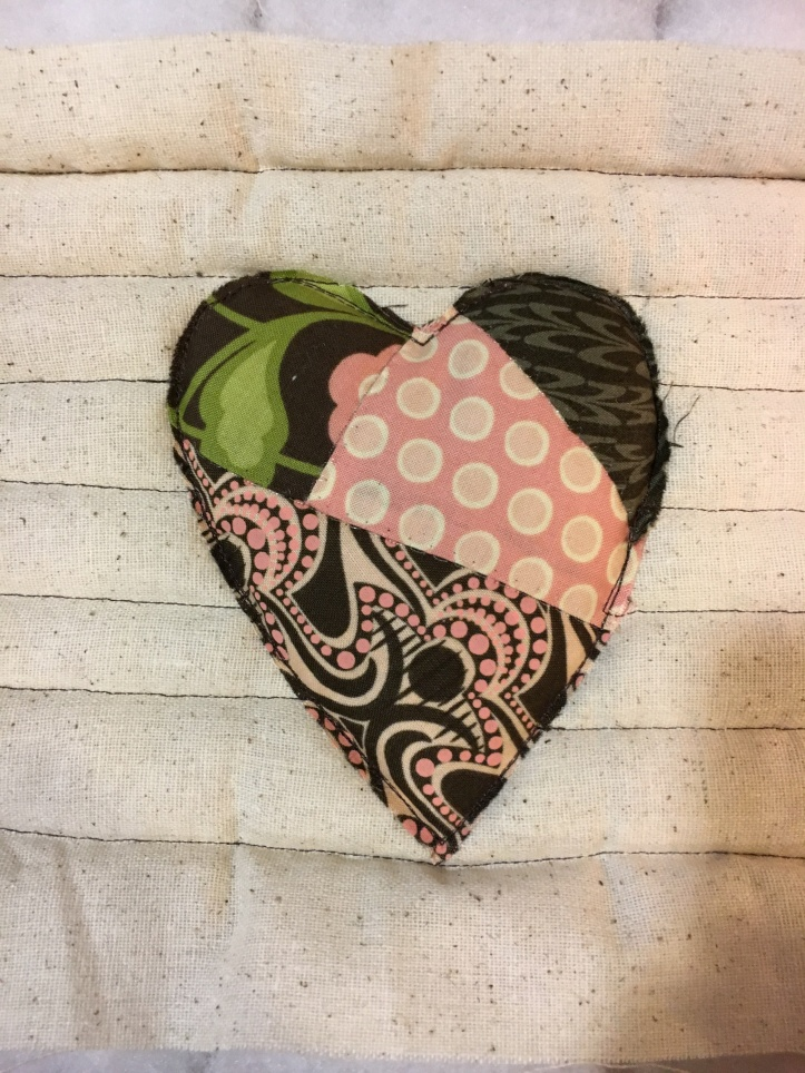 heart hot pads quilted back