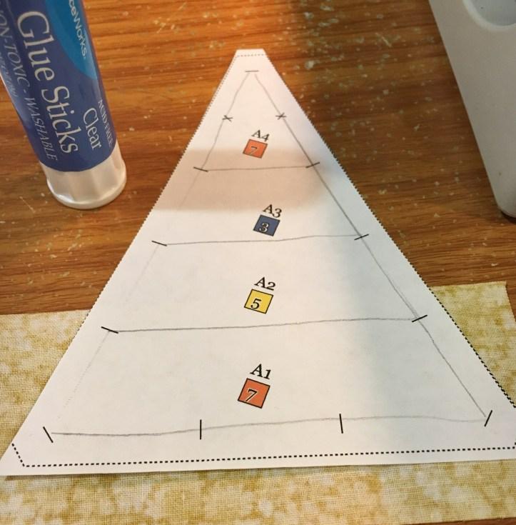 how to paper piece - glue piece 1