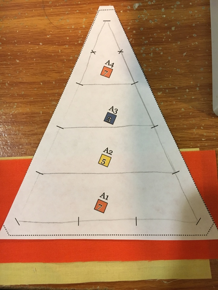 how to paper piece - line up piece 2