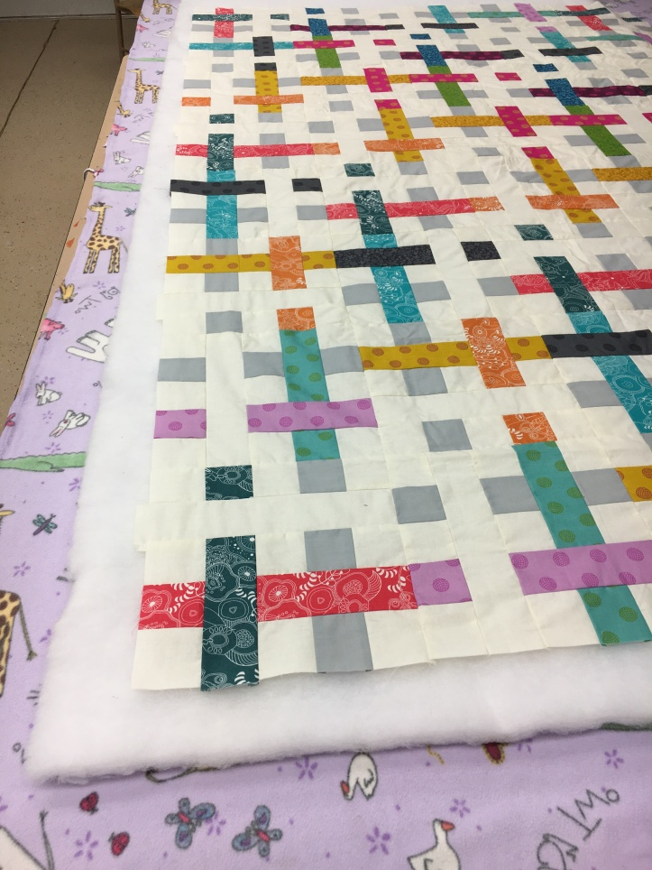 How to pin baste - quilt top with batting overhang