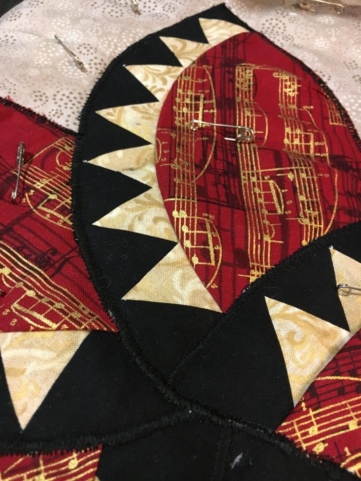 Musical Flower - satin stitch detail