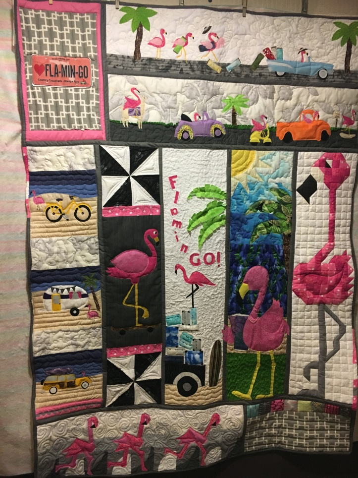 my 2017 winning Row by Row quilt - Flamingos!