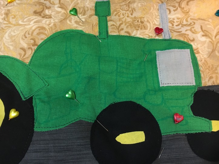 Roger's tractor - ready to quilt