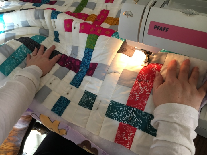 Straight Line Quilting - hand placement