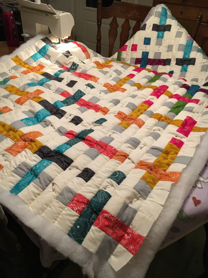 Straight Line Quilting - takes whole table and chairs